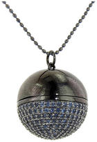 Sydney Evan Pave Sapphire Ball Locket in Blackened Gold