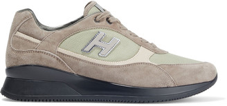 Hogan Elective Appliqued Suede And Mesh Sneakers
