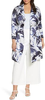 Nic+Zoe Inky Flowers Satin Crepe Long Jacket