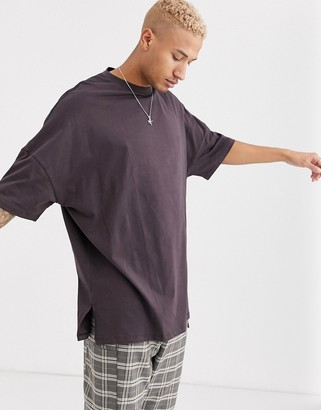 ASOS DESIGN extreme oversized super longline t-shirt with side splits in brown