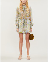 Zimmermann Super Eight floral-print embroidered silk-crepe playsuit