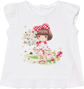 Mayoral White Daisy and Girl Print Tee