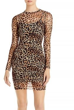 Aqua Ruched Leopard Print Dress - 100% Exclusive