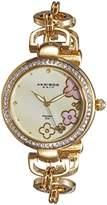 Akribos XXIV Women's AK874YG Round Cream Mother of Pearl Dial Three Hand Quartz Gold Tone Strap Watch