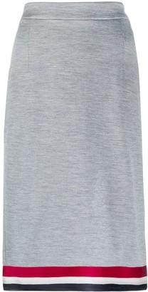 Thom Browne Grosgrain Ribbon Hem Midi Skirt