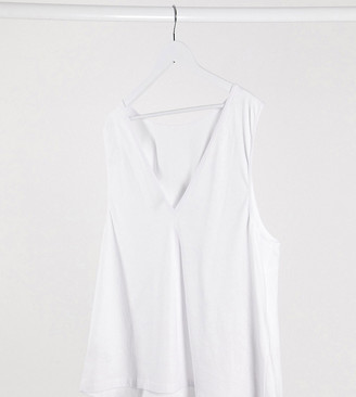 Asos DESIGN Curve super oversized singlet with open back in white