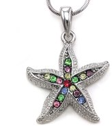 Multicolor Oceanside Starfish Necklace Pendant Charm for Wedding Bride Bridesmaid Chain Fashion Jewelry