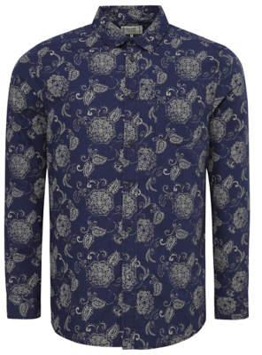 George Navy Paisley Print Long Sleeve Shirt