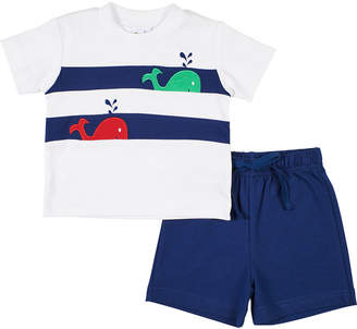 Florence Eiseman Whale T-Shirt w/ Solid Shorts, Size 2-4T