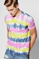 boohoo Multi Line Tie Dye T Shirt