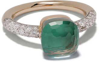 Pomellato 18kt rose & white gold Nudo topaz and diamond petit ring
