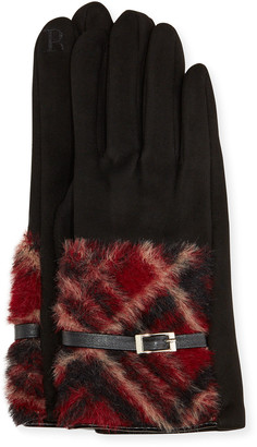 Pia Rossini Rubi Faux Suede Gloves with Faux Fur