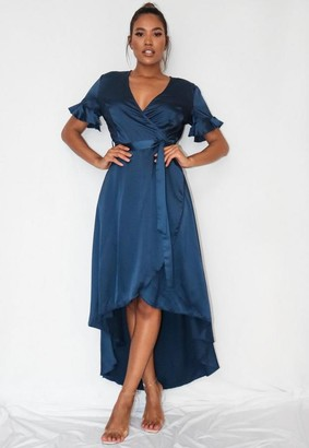 Missguided Navy Satin Flutter Sleeve High Low Midi Dress