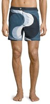 Tom Ford Wave-Print Swim Trunks, Navy