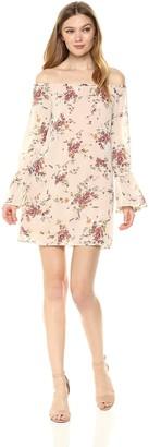 Ali & Jay Women's It's Love Off Shoulder Long Tie Sleeve Floral Mini Dress