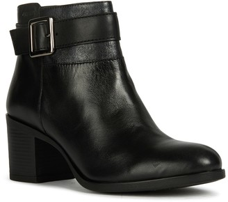 Geox Leather Buckled Strap Ankle Bootie