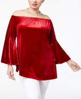 NY Collection Plus Size Velvet Off-The-Shoulder Top