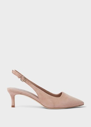 Hobbs Kiera Suede Kitten Heel Slingbacks Court Shoes