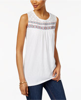 Style&Co. Style & Co Embroidered Mesh Top, Only at Macy's