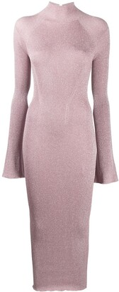 Lanvin Ribbed Knit Bell-Sleeve Dress