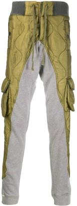 Greg Lauren contrast panel tapered trousers