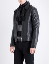 Officine Generale Collared leather jacket
