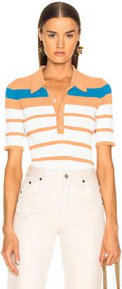 Sies Marjan Rory Collared Short Sleeve Knit Top in Blood Orange, Blue Iris & Salt Stripe | FWRD