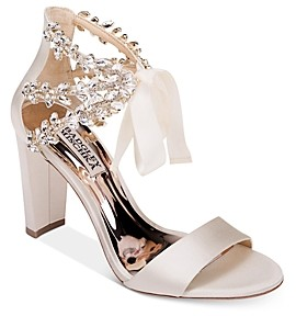 Badgley Mischka Women's Everafter Crystal Embellished Ankle Strap Block Heel Sandals
