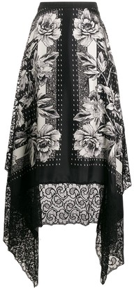Antonio Marras Floral Print Silk Skirt