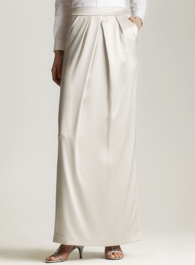 St. John Satin tulip gown skirt in grey