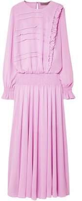 Preen Line Salome Ruffle-trimmed Shirred Georgette Maxi Dress