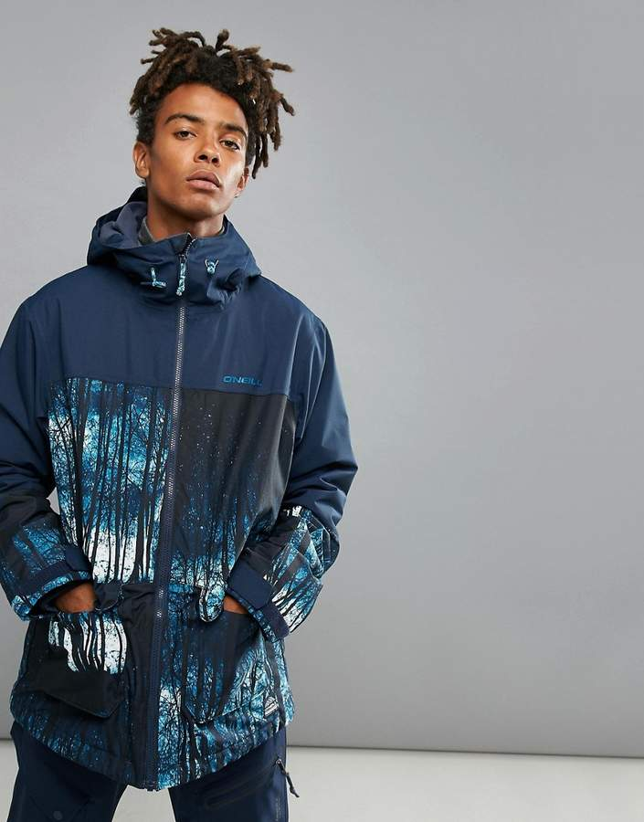 O'Neill Patrol Woodland Print Ski Jacket in Navy