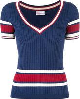 RED Valentino V-neck knitted top - women - Polyamide/Viscose - M