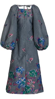 Ganni Floral Jacquard Midi Dress