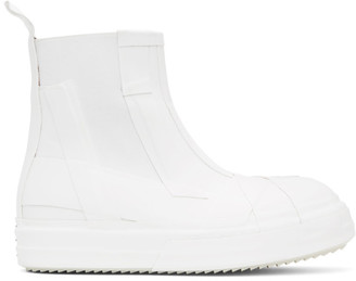 Rick Owens White Rubber Bozo Chelsea Boots
