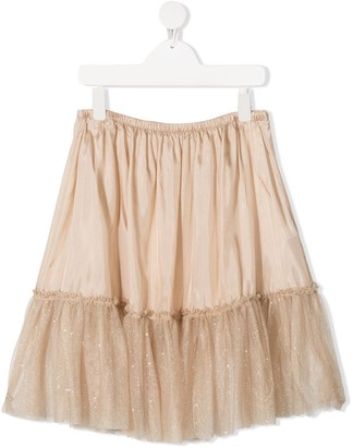 Il Gufo TEEN glittered ruffle-trim skirt