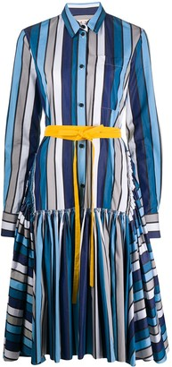Marni Striped Tie-Waist Shirt Dress