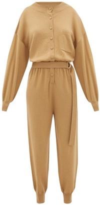 Cordova Corvara Belted Wool-blend Jumpsuit - Womens - Camel