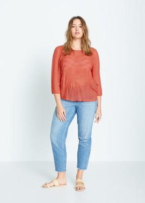 MANGO Violeta BY Embroidered flowy blouse burnt orange - 10 - Plus sizes