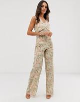 Hope & Ivy lace trim print wide leg jumpsuit