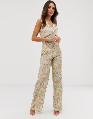 Hope & Ivy lace trim print wide leg jumpsuit