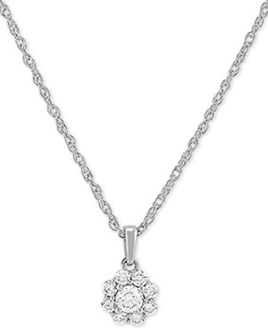 """Forever Grown Diamonds Lab Created Diamond Cluster 18"""" Pendant Necklace (1/5 ct. t.w.) in Sterling Silver"""