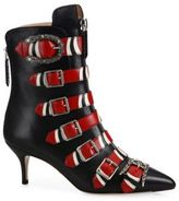 Gucci Susan Snake Buckle Leather Booties