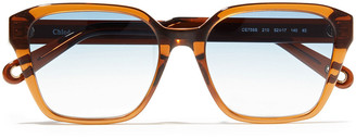 Chloé Square-frame Tortoiseshell Acetate Sunglasses