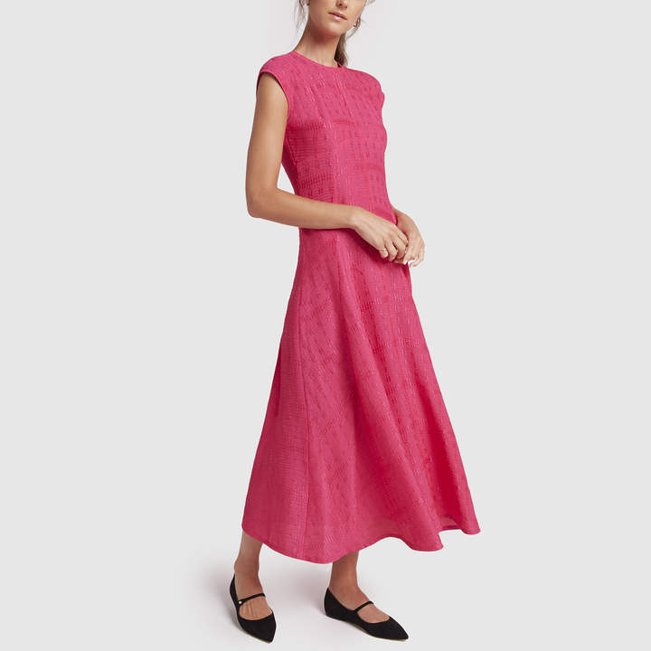 Victoria Beckham Textured Cloque Cap-Sleeve Midi Dress