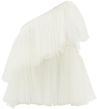 Molly Goddard Gracie One-shoulder Tiered Tulle Top - Ivory
