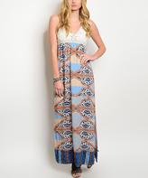 Ivory & Orange Crochet Maxi Dress