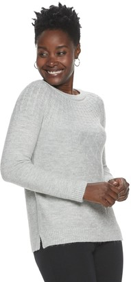 Croft & Barrow Women's Cable-Knit Lurex Crewneck Sweater