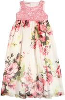 Miss Blumarine Floral Silk Chiffon & Lace Maxi Dress