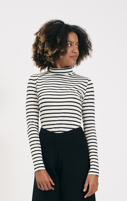 Shio Black and White Stripe Longsleeve Jersey - S/M | cotton